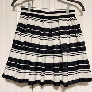Jack Navy Blue and White Pleated Lined Skirt